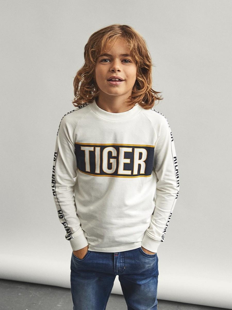 Name it Jungen Langarmshirt Shirt Langarm NKMVAGNO Tiger Grau 116 122 128