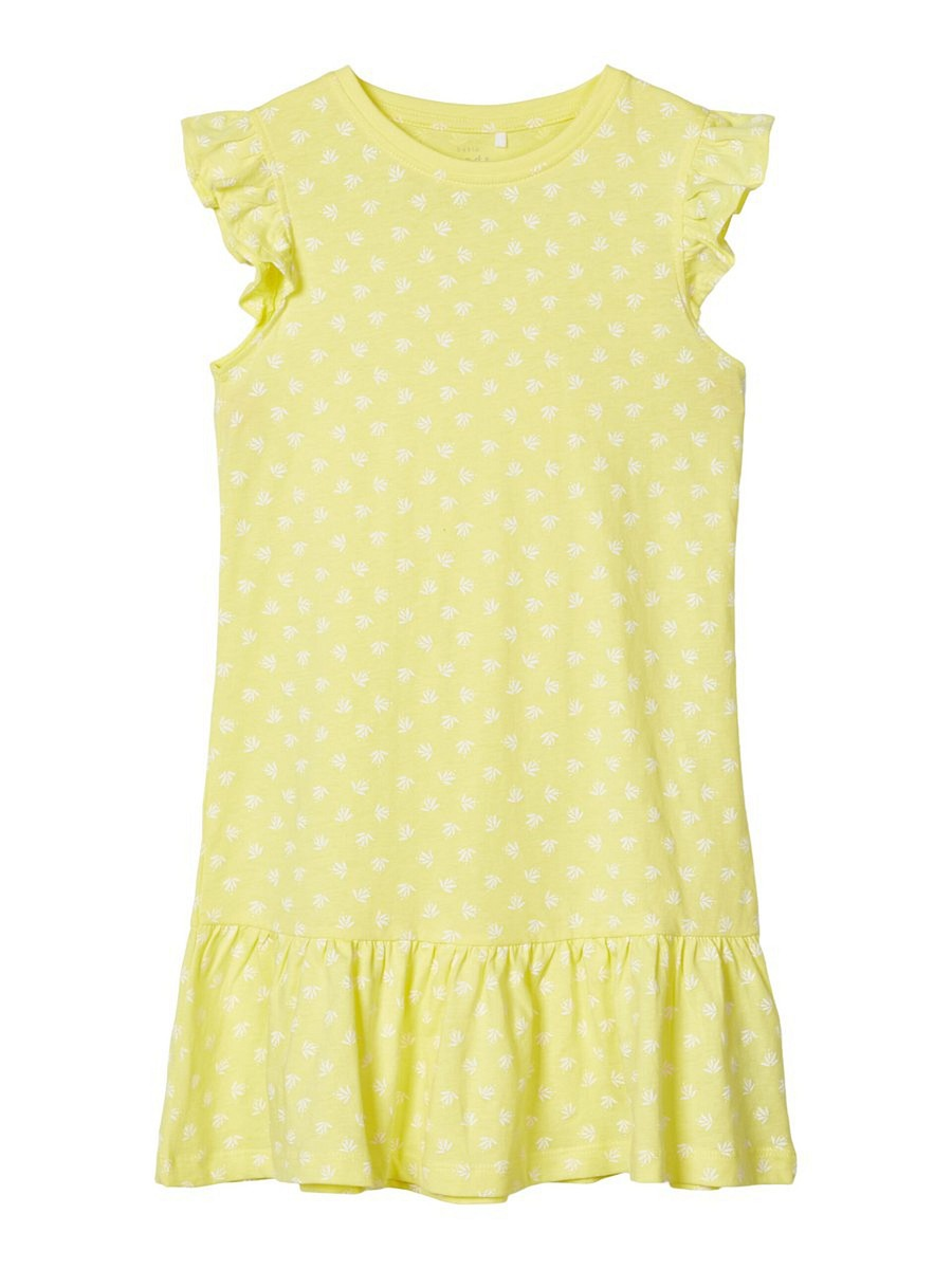Details zu NAME IT kurzarm Jersey Kleid NKFVida gelb Blumen Größe 13 bis  13